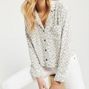 A&F Leopard Print Button Down Shirt